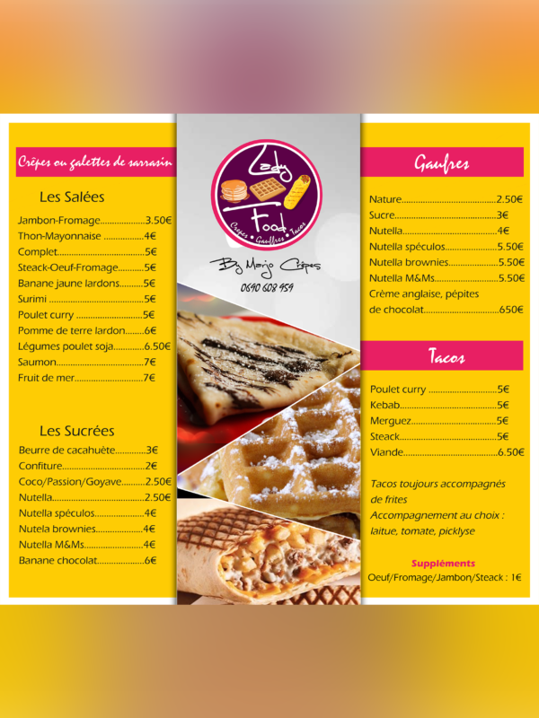 Design menu pour restaurant